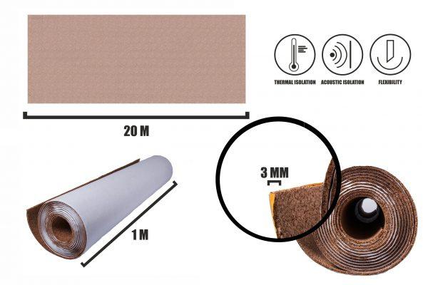 Samolepiace korok role 3mm (20m)